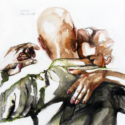 "Tangokunst ""Tangopaar N°29"", 40x40 cm, Mischtechnik auf Papier, 2019 (verkauft)"