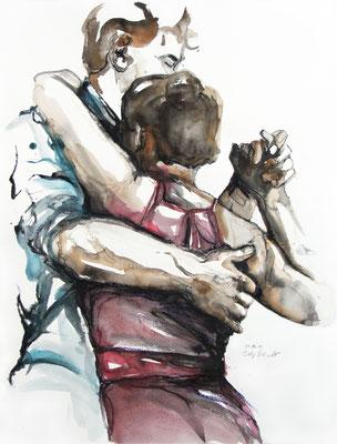 "Tangokunst ""Tangopaar N°28"", 65x50 cm, Mischtechnik auf Papier, 2019 (verkauft)"