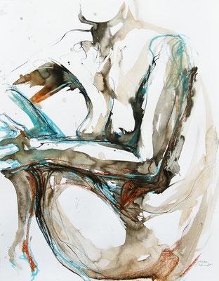 """Aktzeichnung """"Celestine"""", 65 x 50 cm, Mischtechnik auf Papier, 2020"""