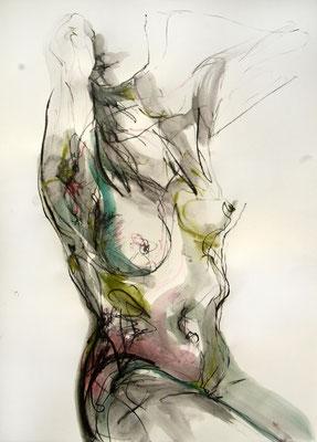 """""""Greta"""", 70 x 50 cm, Mischtechnik auf Papier, 2016"""