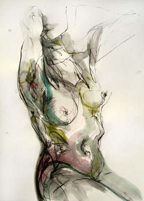 """Aktzeichnung """"Greta"""", 70 x 50 cm, Mischtechnik auf Papier, 2016"""