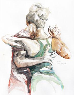 "Tangokunst ""Tangopaar N°71"", 65x50 cm, Mischtechnik auf Papier, 2021 (verkauft)"