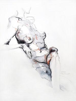 """Aktzeichnung """"Romy"""", 56 x 42 cm, Mischtechnik auf Papier, 2017"""