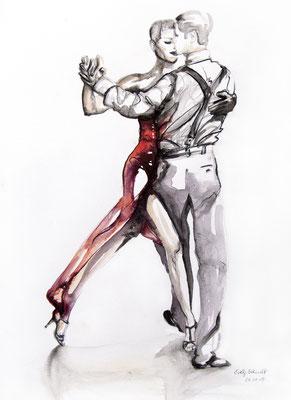 "Tangokunst ""Tangopaar N°11"", 47 x 35 cm, Mischtechnik auf Papier, 2019 (verkauft)"