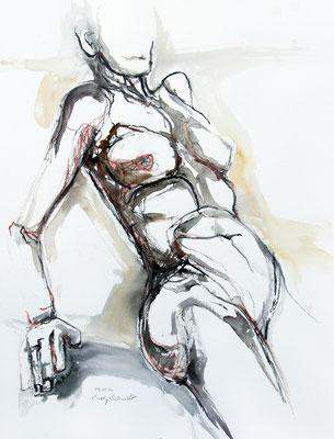 """Aktzeichnung """"Xenia"""", 65 x 50 cm, Mischtechnik auf Papier, 2020"""