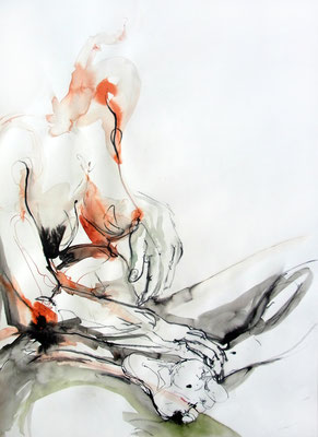 """Aktzeichnung """"Skarlett"""", 67 x 50 cm, Mischtechnik auf Papier"""