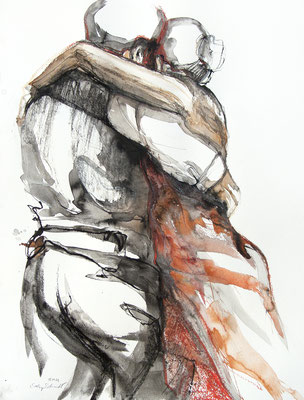 "Tangokunst ""Tangopaar N°52"", 65x50 cm, Mischtechnik auf Papier, 2021 (verkauft)"