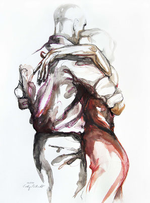"Tangokunst ""Tangopaar N°45"", 65x50 cm, Mischtechnik auf Papier, 2020 (verkauft)"