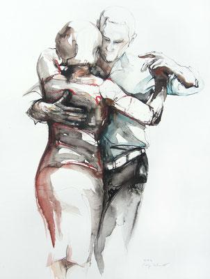 """Tangokunst """"Tangopaar N°58"""", 65x50 cm, Mischtechnik auf Papier, 2021"""