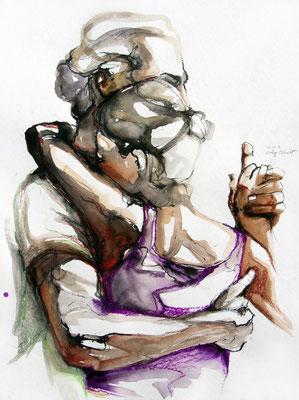 "Tangokunst ""Tangopaar N°41"", 76x56 cm, Mischtechnik auf Papier, 2019 (verkauft)"