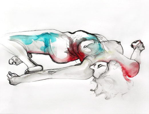 """Virginia"", 50 x 65 cm, Mischtechnik auf Papier, 2017"