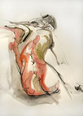 """Aktzeichnung """"Marlene"""", 70 x 50 cm, Mischtechnik auf Papier, 2016"""