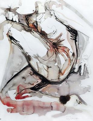 """Aktzeichnung """"Katja"""", 65 x 50 cm, Mischtechnik auf Papier, 2017"""