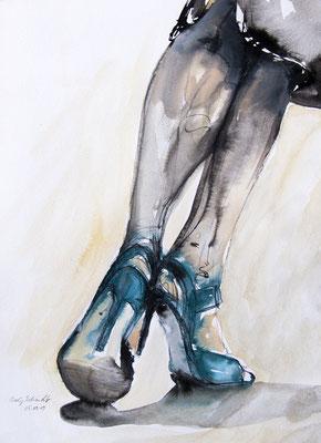 "Tangokunst ""Aquamarin"", 41 x 30 cm, Mischtechnik auf Papier, 2019 (verkauft)"
