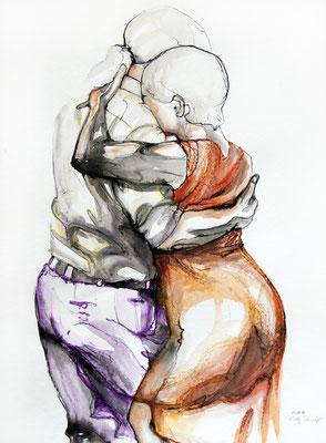 "Tangokunst ""Tangopaar N°35"", 76x56 cm, Mischtechnik auf Papier, 2019 (verkauft)"