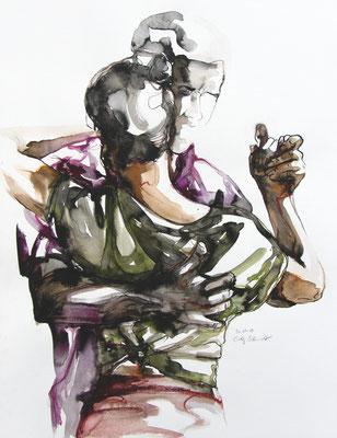 """Tangokunst """"Tangopaar N°31"""", 65x50 cm, Mischtechnik auf Papier, 2019"""