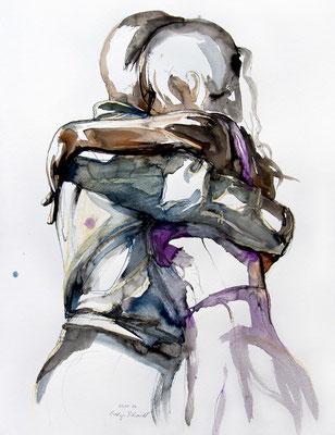 "Tangokunst ""Tangopaar N°55"", 65x50 cm, Mischtechnik auf Papier, 2021 (verkauft)"