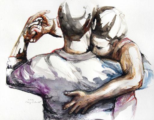 """Tangokunst """"Tangopaar N°63"""", 50x65 cm, Mischtechnik auf Papier, 2021"""