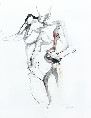 """Aktzeichnung """"Utopia"""", 65 x 50 cm, Mischtechnik auf Papier, 2020"""