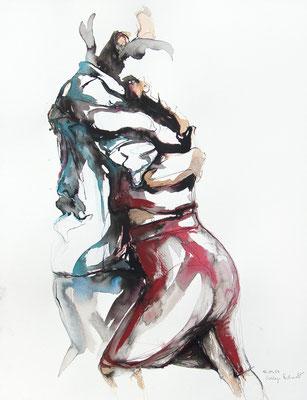 """Tangokunst """"Tangopaar N°47"""", 65x50 cm, Mischtechnik auf Papier, 2021"""