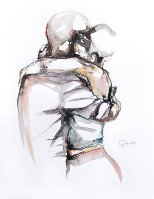 "Tangokunst ""Tangopaar N°13"", 65x50 cm, Mischtechnik auf Papier, 2019 (verkauft)"