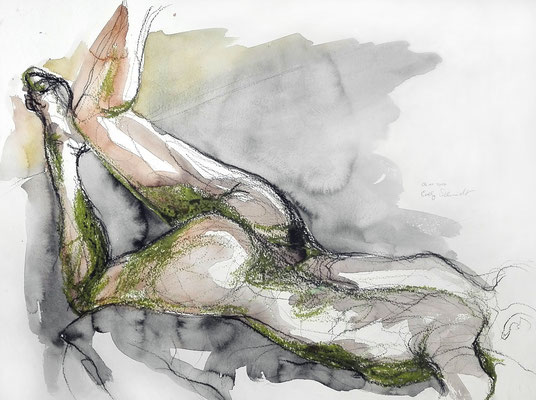 """Amanda"", 42 x 56 cm, Mischtechnik auf Papier, 2017"