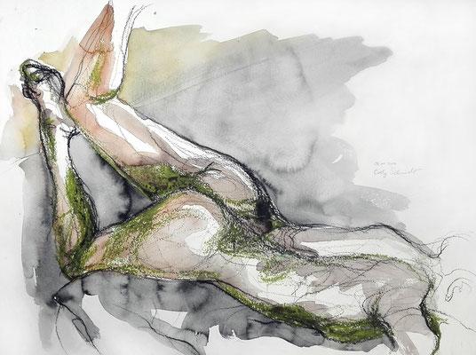 """Aktzeichnung """"Amanda"""", 42 x 56 cm, Mischtechnik auf Papier, 2017"""