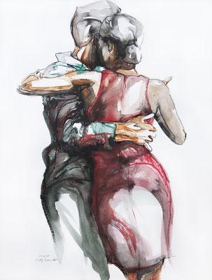 """Tangopaar N°37"", 65x50 cm, Mischtechnik auf Papier, 2019 (verkauft)"