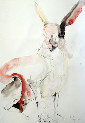 """""""Hase"""", 70 x 50 cm, Mischtechnik auf Papier, 2015"""