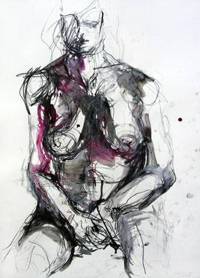 """Aktzeichnung """"Cléo"""", 70 x 50 cm, Mischtechnik auf Papier, 2016"""