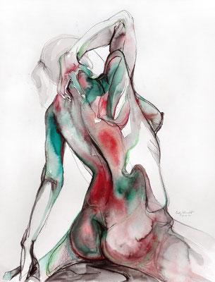 """""""Madeleine"""", 65 x 50 cm, Mischtechnik auf Papier, 2017"""