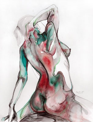 """Aktzeichnung """"Madeleine"""", 65 x 50 cm, Mischtechnik auf Papier, 2017"""