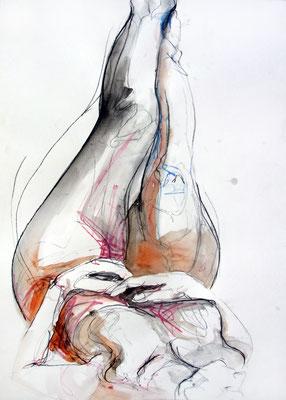 """Aktzeichnung """"Amy"""", 67 x 50 cm, Mischtechnik auf Papier, 2016 (verkauft)"""