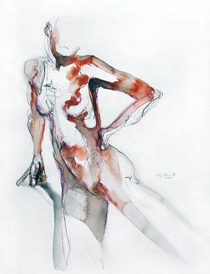"""Aktzeichnung """"Paloma"""", 65 x 50 cm, Mischtechnik auf Papier, 2017"""