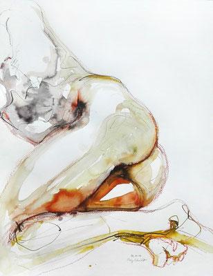 """Aktzeichnung """"Natascha"""", 65 x 50 cm, Mischtechnik auf Papier, 2017"""