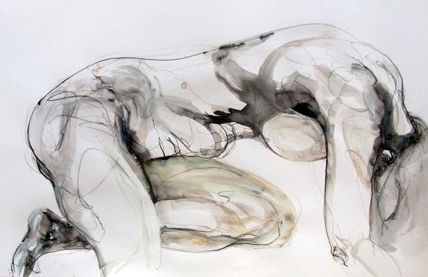 """Aktzeichnung  """"Lena"""", 51 x 80 cm, Mischtechnik auf Papier, 2015"""
