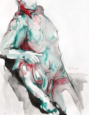 """Aktzeichnung """"Raphael"""", 65 x 50 cm, Mischtechnik auf Papier, 2017"""