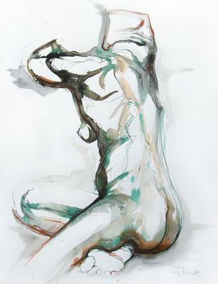 """Aktzeichnung """"Esmeralda"""", 65 x 50 cm, Mischtechnik auf Papier, 2020"""