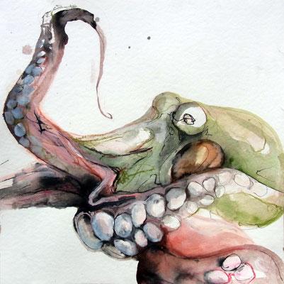 """""""Tintenfisch"""", 40 x 40 cm, Mischtechnik auf Papier, 2016"""