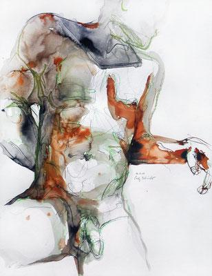 """""""Ian"""", 65 x 50 cm, Mischtechnik auf Papier, 2017"""