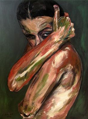 """Der innere Kampf (Selbstbildnis), 100 x 70 cm, Acryl auf Leinwand, 2015"