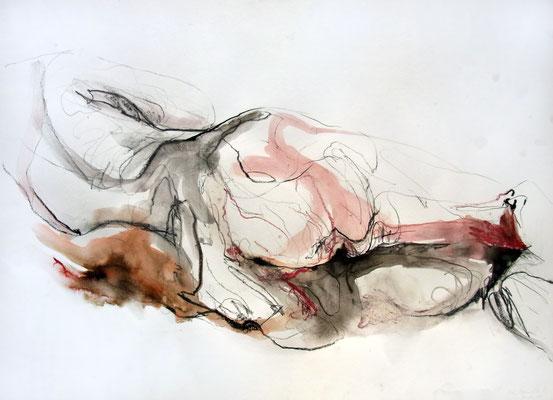 """Aktzeichnung """"Mara"""", 50 x 70 cm, Mischtechnik auf Papier, 2015"""