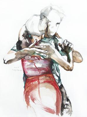 """Tangokunst """"Tangopaar N°30"""", 56x42 cm, Mischtechnik auf Papier, 2019"""