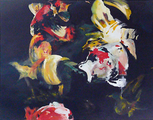 """""""Koikarpfen"""", 180 x 200 cm, Acryl auf Leinwand, 2008 (verkauft)"""