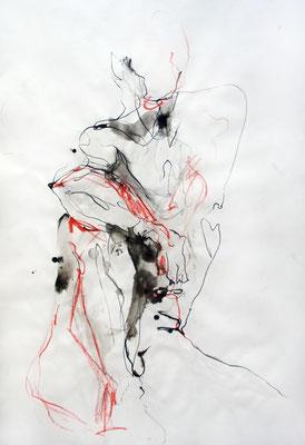 """Aktzeichnung """"Antonio"""", 83 x 59 cm (DIN A1), Mischtechnik auf Papier, 2015 (verkauft)"""