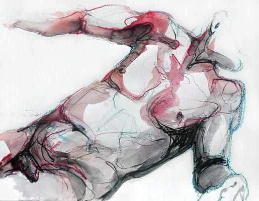 """Aktzeichnung """"Erik"""", 50 x 65 cm, Mischtechnik auf Papier, 2017"""