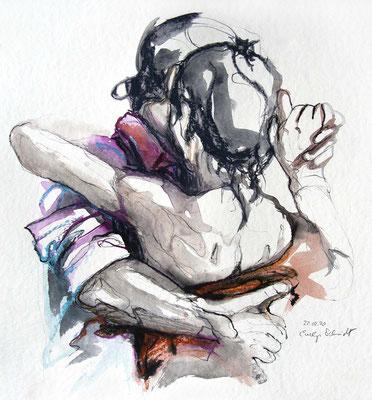 "Tangokunst ""Tangopaar N°43"", 40x36 cm, Mischtechnik auf Papier, 2020 (verkauft)"