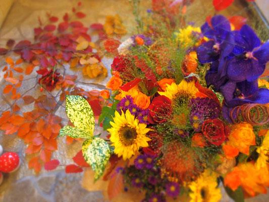 季節感ある秋の花束