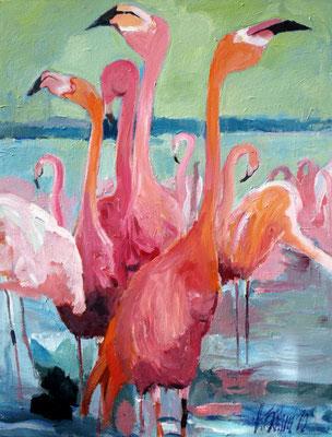 Flamingos 130x100 cm Acryl / Leinwand