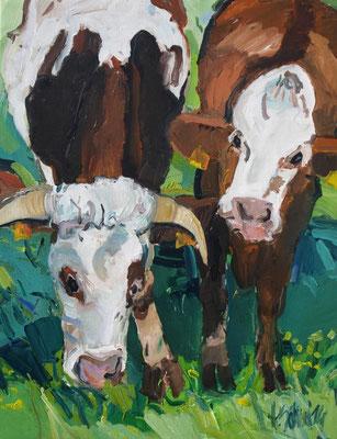 Zwei Kühe 130x100 cm Acryl / Leinwand